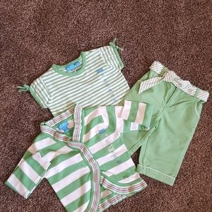 NEW Long Sleeve Warm 3pc Set Green Girl 24M